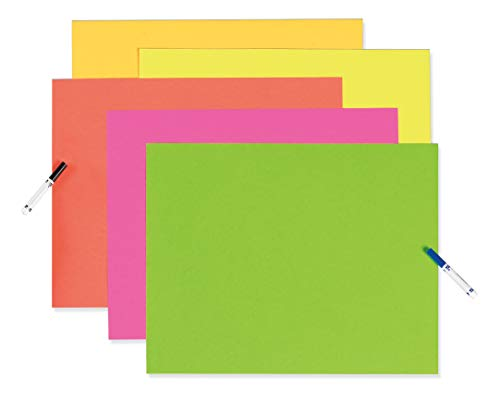 Pacon 104234 Neon Color Poster Board, 28 x 22, Green/Orange/Pink/Red/Yellow (Case of 25)