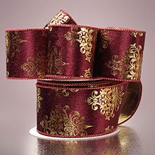 Krafty Klassics 1 Roll of Damask Pattern Wired Fabric Ribbon (2 1/2