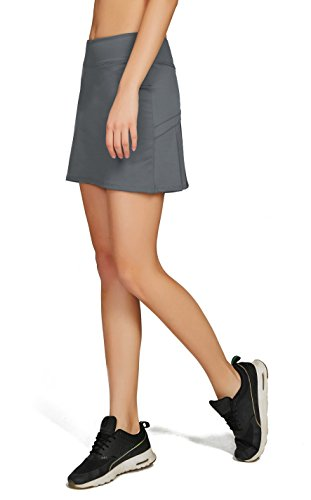 Cityoung Women's Casual Pleated Golf Skirt with Underneath Shorts Running Skortss grey1 by Cityoung (Image #3)