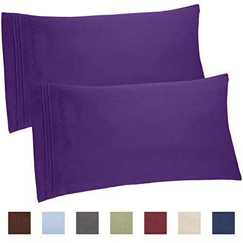 CGK Unlimited Queen Size Pillow Cases Set of 2 – Soft, Premium Quality Hypoallergenic Purple Pillowcase Covers – Machine Washable Protectors – 20x40, 20x36 & 20x48 Pillows for Sleeping 2 Pack ()