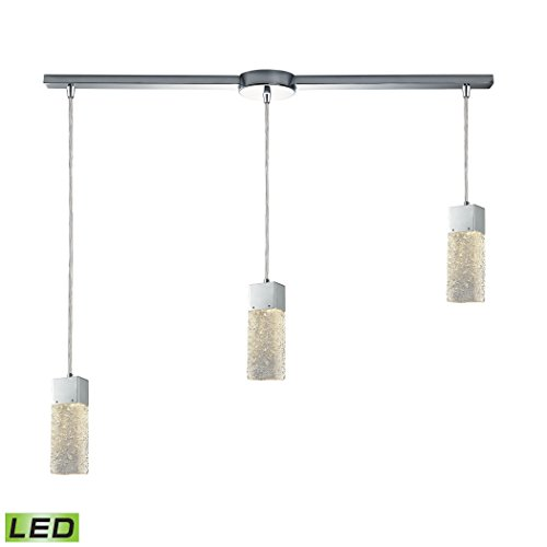 Cubic Ice 3 Light Linear Bar Fixture In Polished Chrome With Solid Textured Glass Cubic Three Light Chandelier
