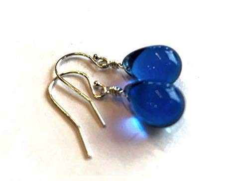 (Cobalt Blue Glass Dangle Drop Earrings Sterling Silver Wire Wrapped - Gift For Women)