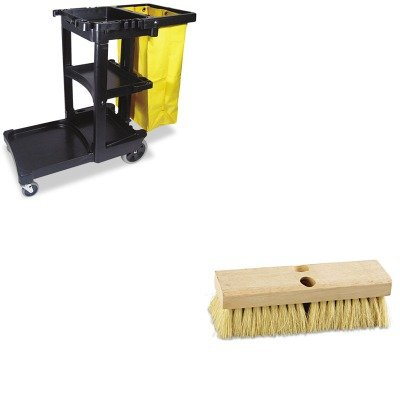 KITBWK3210RCP617388BK - Value Kit - Boardwalk Deck Brush Head (BWK3210) and Rubbermaid Cleaning Cart with Zippered Yellow Vinyl Bag, Black (RCP617388BK)
