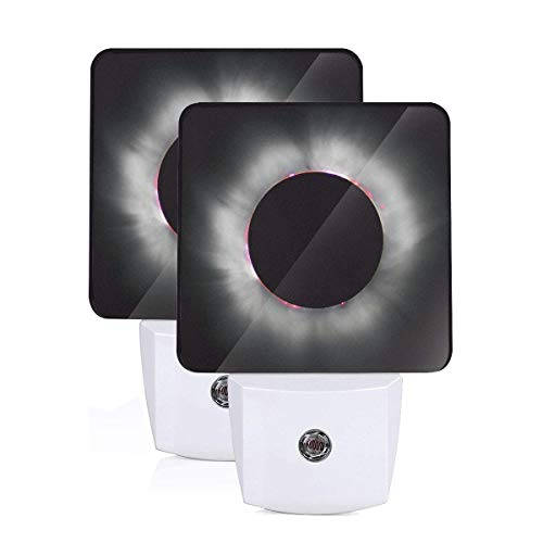 Janeither Set of 2 LED Night Lights, Solar Eclipse Artistic Pattern Wall Lights, Auto Senor Dusk to Dawn Night Light Plug in Indoor for Adults