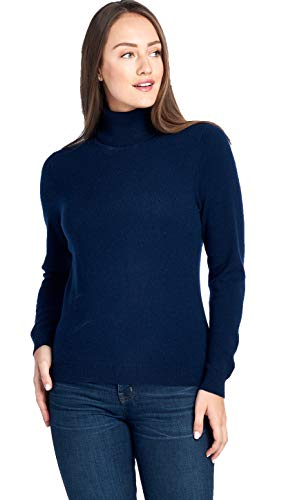 Mariyaab Women's 100% Cashmere Soft Long Sleeve Turtleneck Sweater (1303, Peacoat, ()