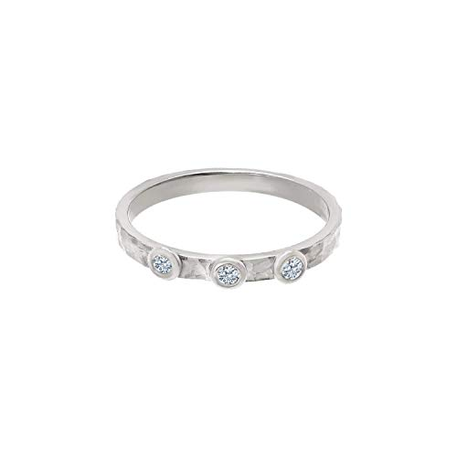 TousiAttar Three Diamond Rings - Solid 14k or 18k White Gold Hammered band Jewelry for Women - Free Personalized and Engraved Name and Initial or Message