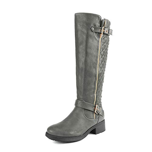 DREAM PAIRS Women's Utah Grey Low Stacked Heel Knee High Rid