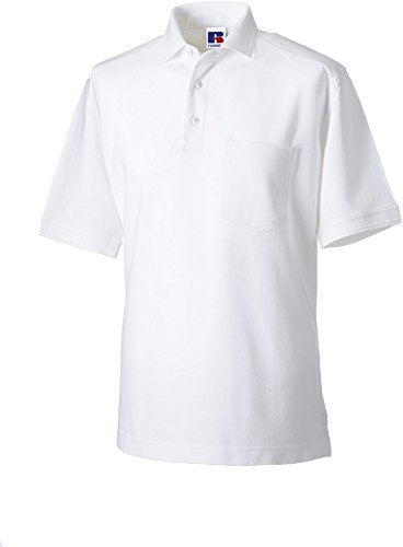 Russell Collection Strapazierfähiges Piqué Arbeits-Poloshirt R-011M-0 3XL,White