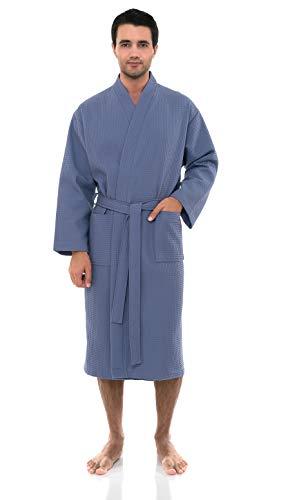 TowelSelections Men's Waffle Bathrobe Turkish Cotton Kimono Robe Medium/Large Bleached Denim