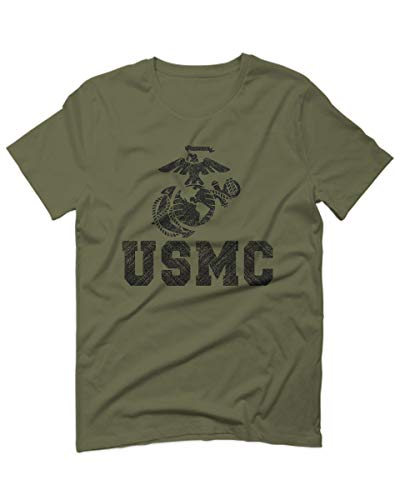 Black Marine Corp USMC Big Logo Seal United States of America USA American for Men T Shirt (Olive Green, Large)