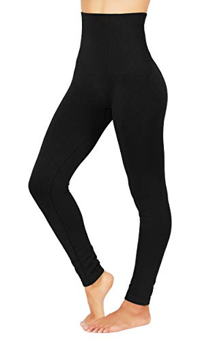 Premium Tummy Control High Waist Slimming Thick Fleece/French Terry (S/M US Size 2-8, FD48-BLK)