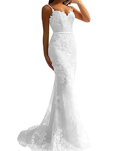 Promworld Women's Spaghetti Strap Lace Applique Mermaid Bridesmaid Dress Beaded Tulle Prom Dress Long White US2