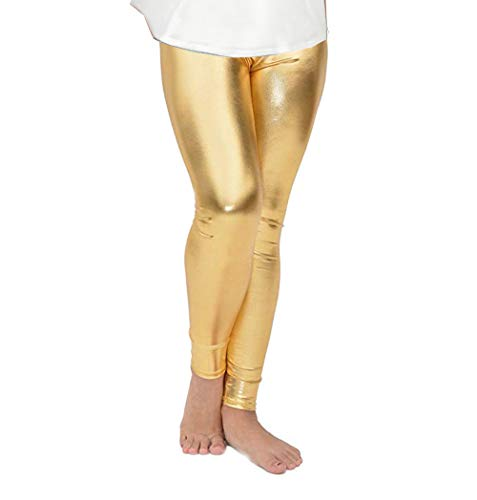 Fitcat Kids Toddler Girls Faux Leather Pants Shiny Strech Leggings Tights (Metallic Gold, 8T-9T)