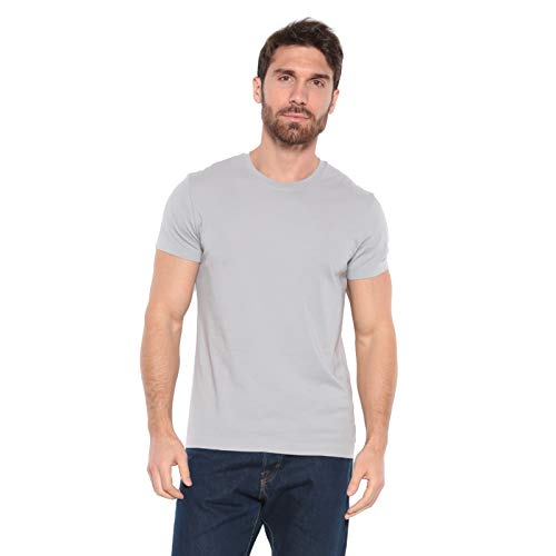 Men's Designer T-Shirt Lightweight Semi Fit Short Sleeve Crew Neck Organic Cotton Pre-Shrunk Embroidered - Made in USA (Large, Light Grey)