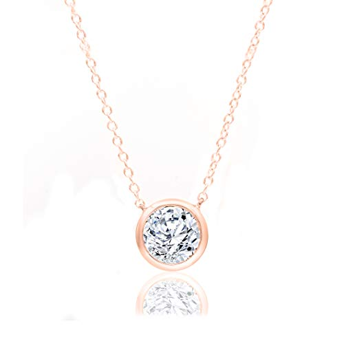 1/2 Carat Natural Diamond Necklace 10K Rose Gold (H-I Color, I2 Clarity) Halo Diamond Necklace for Women Diamond Jewelry…