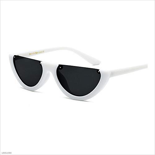 Blanc Marron Couleur Lunettes Sun PC de Vintage Hommes Unisex Protection UV Mme Style Lens Soleil Aszhdfihas Punk Half de Lunettes Soleil Boundless R1U4UwfqH