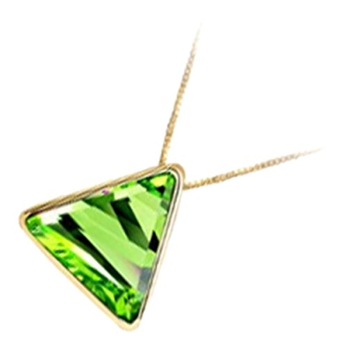 (UPCO Womens 18K Yellow Gold Plated Triangle Pendant Necklace, with Green Austrian Crystal)