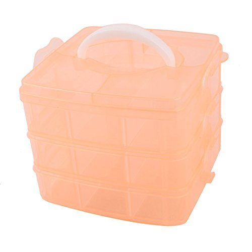 Red Orange Plastic 3 Layers 18 Slots Separable Hand Carry Storage Box by DealMux