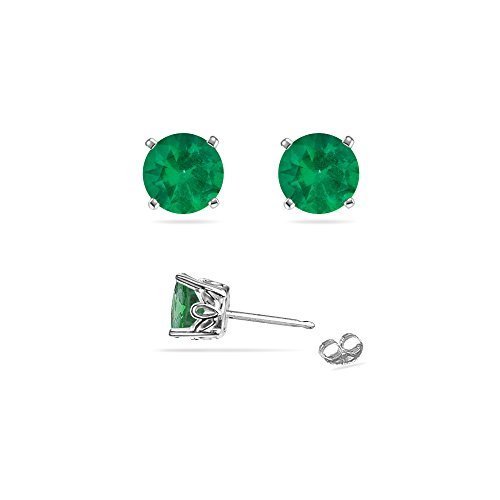 0.42-0.55 Cts of 4 mm AA Round Natural Emerald Scroll Stud Earrings in Platinum