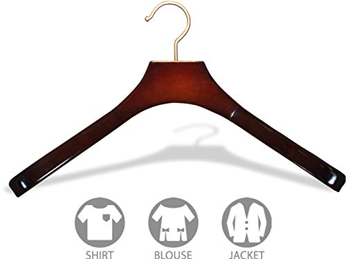 Deluxe Contoured Wooden Coat Hanger, Cherry Finish with 2 Inch Wide Shoulders and Brushed Chrome Hook (Box of 24) by The Great American Hanger Company by The Great American Hanger Company (Image #2)