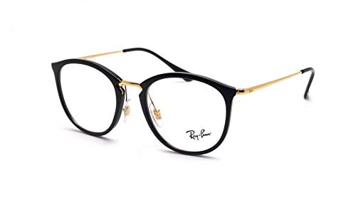 e0a2cdf4e Rayban Round Medical Glasses Unisex Black/Gold RX7140 2000 Size 51 ...