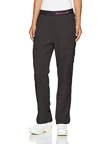 HeartSoul Scrubs Women's Head Over Heels So in Love Low Rise Pull-on Pant, Black, Large