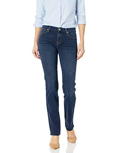 7 For All Mankind Women's Straght Leg Jean, Dark Moonlight Bay, 28 from 7 For All Mankind