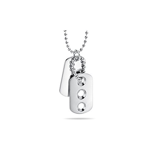 Stainless Steel Double Dog Tag Triple Cut Pendant - Valentine's Day Sale by Studs Galore