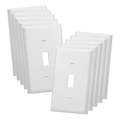 10 Pack - Single-Gang Toggle Switch Plastic Wall Plate - UL Listed, White