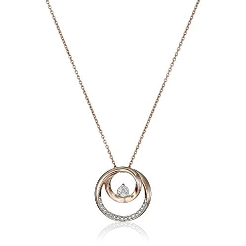 Sterling Silver with Pink Gold Plating Diamond Circle Pendant Necklace, 18""