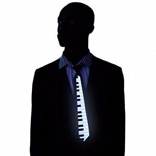 """Cravate lumineuse """"Power"""" fonctionnant au son, déguisement pour rave parties, cravate fluorescente pour Halloween et festivals de musique"""