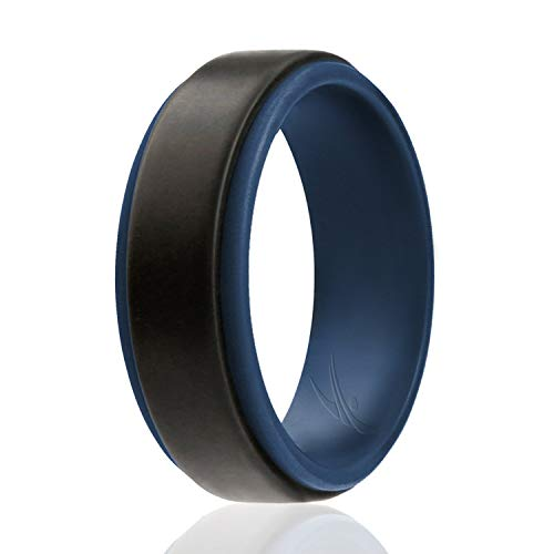 - ROQ Silicone Wedding Ring for Men - Duo Collection Step Style- Single Silicone Rubber Wedding Band - Classic Design - Blue-Black Colors- Size 14