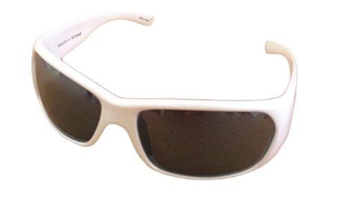 (Perry Ellis Sunglasses Unisex White Plastic Wrap, Light Flash Lens PE12)
