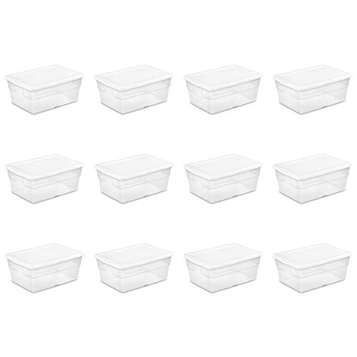 Sterilite 16448012 16 Quart/15 Liter Storage Box, White Lid with Clear Base, ()