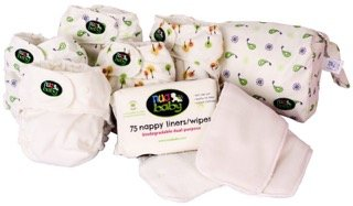 Day Pack Cloth Diaper Bundle by nuababy. Includes 5 cloth diaper sets (cover and soakers)-1 large wet bag-1 booster set-1 pack of liners. Perfect gift for a new mom! by Ethikos Market