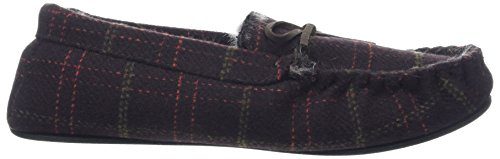 Totes Men's Fur Lined Check Mocc Low-Top Slippers Brown (Brown) SEUC0
