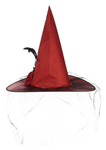 Gemvie Women's Witch Hat with Veil Halloween Costume Masquerade Cap (Red Witch Hat)