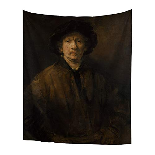 World Classic Art Masterpiece Tapestry Series Rembrandt Harmenszoon Van Rijn Large Self-Portrait,1652. Classical Art Tapestry Wall-Hanging Antique Vintage Collection Home Décor