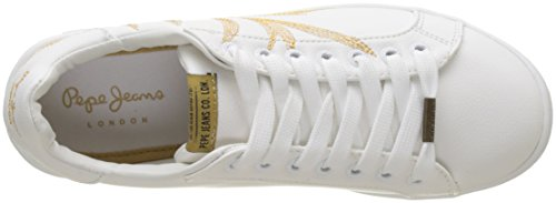 Pepe Jeans London Damen Brompton Embroidery Sneaker Weiß (White)
