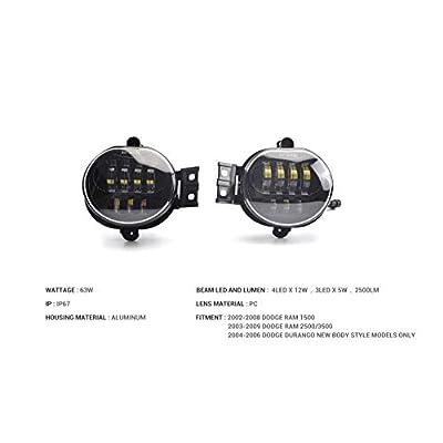 Tecoom Fog Lights Set of 2 for Ram 1500/2500/3500 Durango 2002-2008 Approved by DOT SEA Waterproof Bright 2500 lumen LED Road Off Lights: Automotive