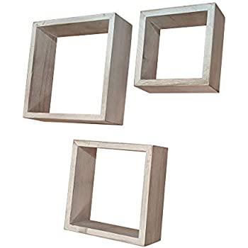 Gianna's Home Set of 3 Rustic Farmhouse Distressed Country Floating Shelves (Square)