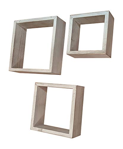 Gianna's Home Set of 3 Rustic Farmhouse Distressed Country Floating Shelves (Square) (Squares Shelf)