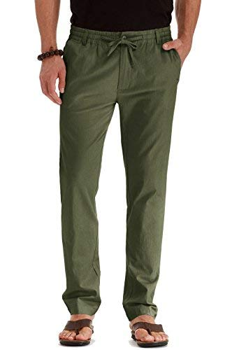 Mr.Zhang Men's Drawstring Casual Beach Trousers Linen Summer Pants (US 36, Army Green) ()