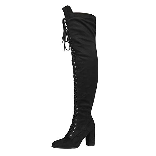 DREAM PAIRS Women's Hi-Lace Black Faux Suede Over The Knee Thigh High Boots Size 11 M US