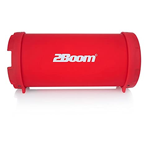 2BOOM Mini Bass King Wireless Bluetooth Portable Outdoor Speaker with FM Radio LED Display - Red (Earthquake Shallow Subwoofer)