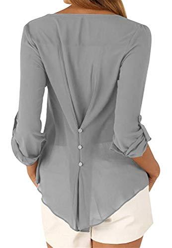 POINGS Bluse a in Causal Allentato Donna Chiffon V Lunghe Grigio Basic Camicia Camisetta Maniche Top Collo rSrvAp0