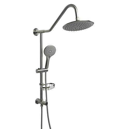 Retrofit Rain Shower System with Adjustable Handshower and Slide Bar,Bathroom Shower Spa Combo Fixtures,Brushed Nickel Finish,HAOXIN,J450-BN