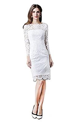 Lily Mode Women's Yoke Illusion Lace Fit Cocktail Sheath Dress with Long Sleeves