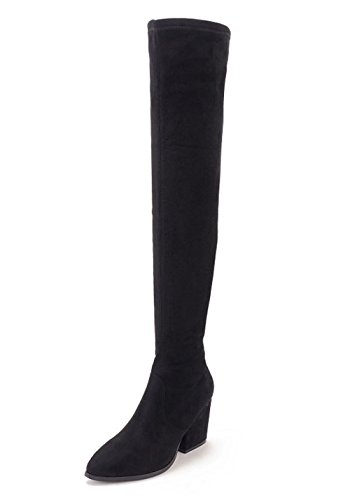 Ladola Womens Zipper Above-The-Knee Pointed-Toe Solid Urethane Boots Black