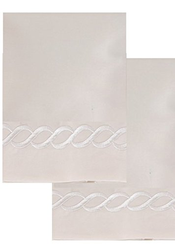 (Affluence 600 Thread Count 100% Cotton Embroidered Pillowcase Sets - Chain Pattern (Standard/Queen Pillowcase Set, Ivory/Ivory))